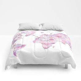 Lavander and pink watercolor world map Comforters