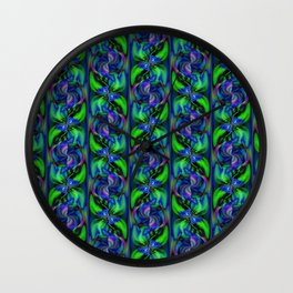 Green And Blue Pinwheel Swirls Wall Clock