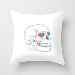 Anaglyph skull Throw Pillow