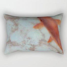 Koi in Turquoise Pond Rectangular Pillow