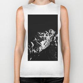 Minimalistic black and white snow covered mountain Biker Tank