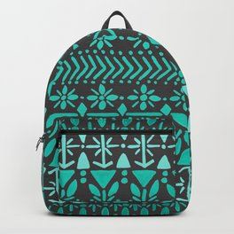 Norwegian Pattern – Aqua on Charcoal Backpack