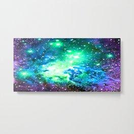 Fox Fur Nebula BRIGHT : Green Blue Purple Galaxy Metal Print