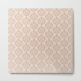 Toasted Almond Damask Pattern Metal Print