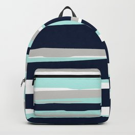 Ocean, Stripe Abstract Pattern, Navy, Aqua, Gray Backpack
