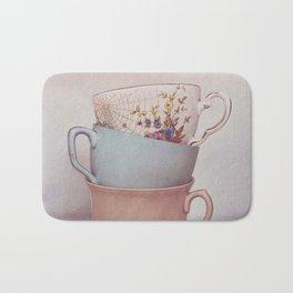 Vintage teacups Bath Mat