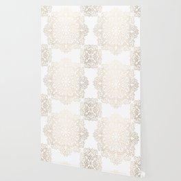 Mandala White Gold Shimmer by Nature Magick Wallpaper