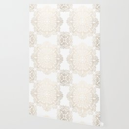 Mandala White Gold Shimmer by Nature Magick Wallpaper
