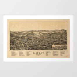Aerial View of Barre, Vermont (The Granite City) 1891 Art Print