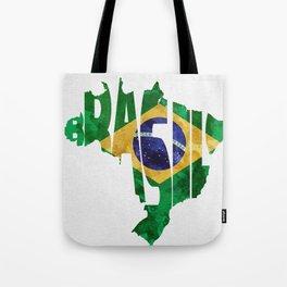 Brasil Typographic World Map / Brasil Typography Flag Map Art Tote Bag