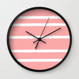 Scribble Stripes on Pink Wall Clock