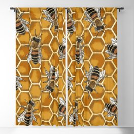 Honey Bee Beehive * Bumble Bees and Worker Bees Blackout Curtain