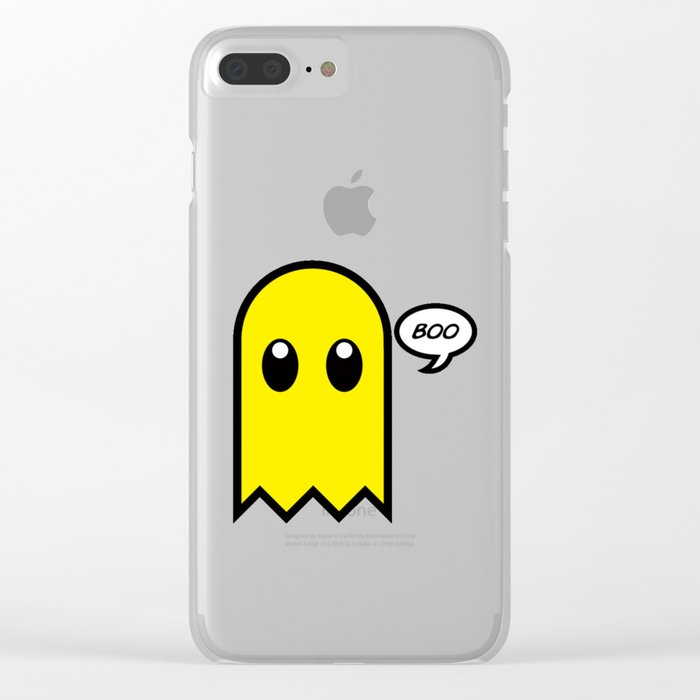 Cute ghost yellow spooky boo Clear iPhone Case