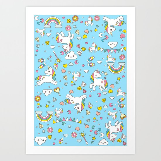 Unicorn Light Blue Pattern Art Print