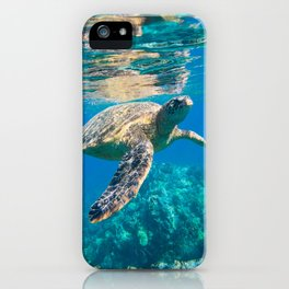 Large Sea Turtle, Marine Turtle, Chelonioidea, reptile animal swimming in clear and clean water iPhone Case
