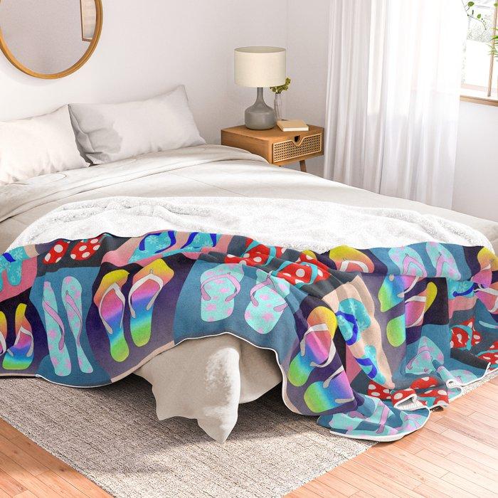 Flip Flop Pop Art Throw Blanket By Julieerindesigns Society40 Cool Flip Flop Throw Blanket