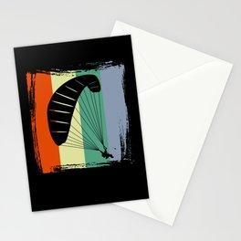 Paragliding - Retro Graphics With Umbrella Stationery Cards