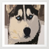 duvet cover Art Prints featuring DOG DUVET COVER by aztosaha