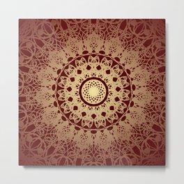 Mandala Flower Burgundy Cream II Metal Print