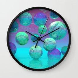 Ocean Dreams - Aqua and Indigo Ocean Universe Wall Clock