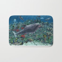 Dolphins play in the reef Bath Mat