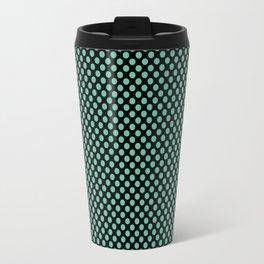 Black and Spearmint Polka Dots Travel Mug