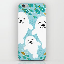 happy family of white seals and fish on a blue background. iPhone Skin