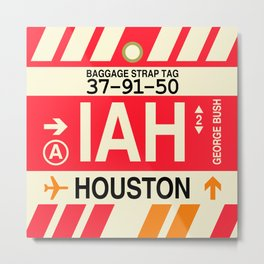 IAH Houston • Airport Code and Vintage Baggage Tag Design Metal Print