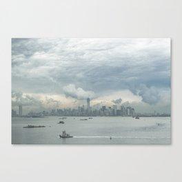 Cloudy New York Harbor Canvas Print