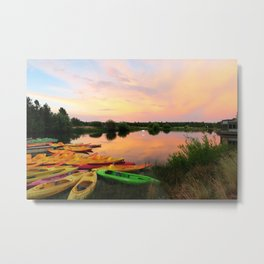Sun River Boats Metal Print