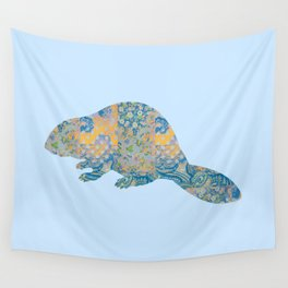 Beaver Vintage Floral Pattern Rustic Country Shabby Chic Blue Yellow Orange Grey Wall Tapestry