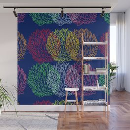 Vibrant colorful succulent plant design pattern on dark blue Wall Mural