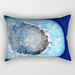 Blue Crystal Geode Rectangular Pillow