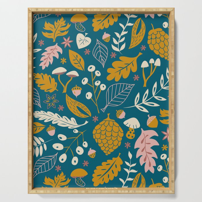 Fall Foliage in Blue and Gold Serving Tray