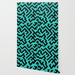Black and Turquoise Diagonal Labyrinth Wallpaper