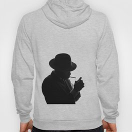Silhouette of private detective in old fashion hat lights a cigarette Hoody