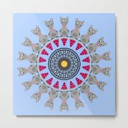 Pizza Rat Mandala Design Metal Print
