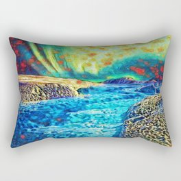 A Polar Experience | Northern Lights and River - Abstract Oil Painting Rectangular Pillow