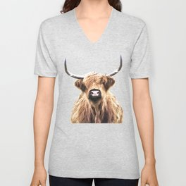 Highland Cow Portrait Unisex V-Neck