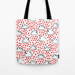 Heart Rain watercolor ink pattern basic minimal love valentines day gifts Tote Bag