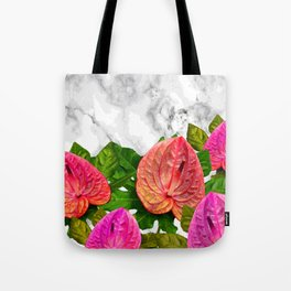Flamingo flower with marble #society6 Tote Bag