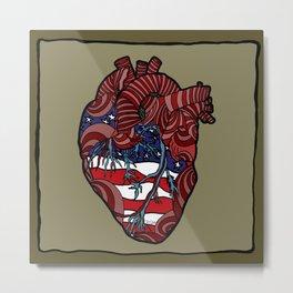 """Flag Heart"" - American Flag, Human Heart - Labor Day - www.davidjdiamant.com Metal Print"