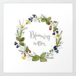 'Blooming within' watercolor flower wreath Art Print