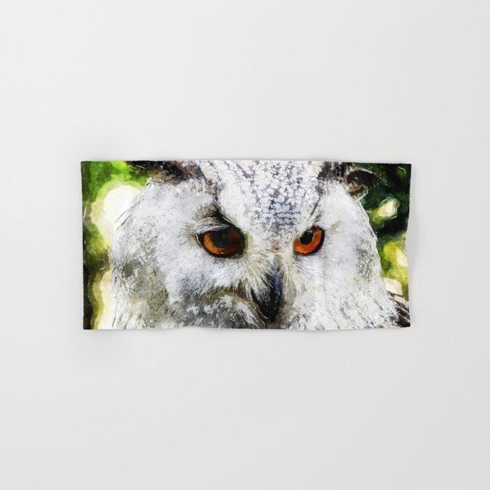 Owl  Animal Bird Watercolor Illustration Hand & Bath Towel