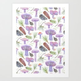Wood Blewits and Pine Pattern Small Art Print