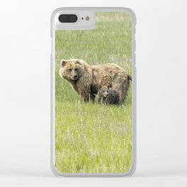 Mother Brown Bear With Her Two Cubs, No. 1 Clear iPhone Case