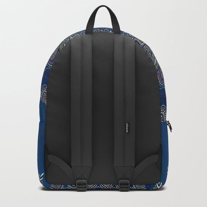 Blue Detailed Mandala Esoteric Pattern Backpack