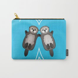 Otters Holding Hands - Otter Couple Carry-All Pouch