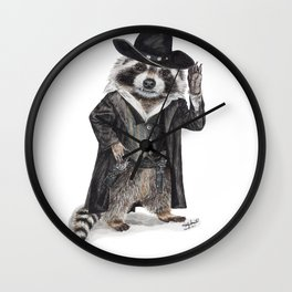 """ Raccoon Bandit "" funny western raccoon Wall Clock"