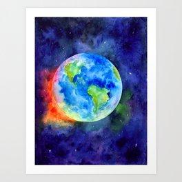 Watercolor painting of Earth Art Print